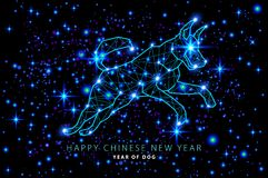 Vector 2018 Happy chinese New Year of dog greeting card. abstract star sky design light cosmos. illustration Stock Photography