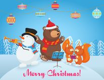 Vector Happy Christmas card with cute bear, snowman and two little fox  Royalty Free Stock Image