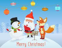 Vector Happy Christmas card with cute Santa Claus, Snowman and Fox friends sing songs together. Merry Christmas. Royalty Free Stock Image