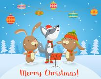 Vector Happy Christmas card with cute Wolf and rabbits friends sing songs together. Merry Christmas. Royalty Free Stock Image