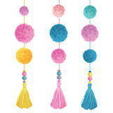Vector Happy Colorful Birthday Party Pom Poms, Beads, and Tassels Set Of Elements. Great for handmade cards, invitations Stock Photography
