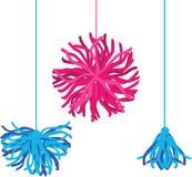 Vector Happy Colorful Birthday Party Pom Poms set. Great for handmade cards, invitations, cheerleader, nursery designs. Vector decor elements vector illustration