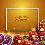 Vector happy diwali background with festival crackers. Vector Stock Photo
