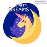 happy dreams unicorn vector illustration