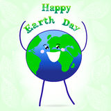 Vector Happy Earth Day card banner print. On green background Royalty Free Stock Photography