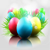 Vector Happy Easter  Background with Colorful Eggs. Vector Happy and Cute Easter  Background with Colorful Eggs and grass Royalty Free Stock Photography