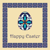 Vector Happy Easter background with easter egg and decorative frame Stock Photography