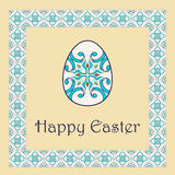 Vector Happy Easter background with easter egg and decorative frame Royalty Free Stock Photos