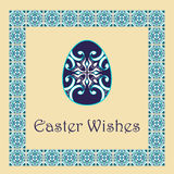 Vector Happy Easter background with easter egg and decorative frame Royalty Free Stock Images