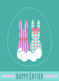 Vector Happy Easter background with eggs and cute ornate bunnies Royalty Free Stock Photography