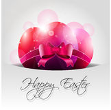 Vector Happy Easter Background with Pink Eggs in P. Ocket and text Stock Photography