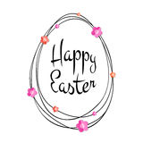 Vector Happy Easter black typographic calligraphic lettering with gold scribble egg frame and colorful paper flowers. Isolated on white background. Retro Royalty Free Stock Photos