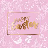 d14d8dc8829 Vector Happy Easter black typographic calligraphic lettering with scribble  egg frame and colorful paper flowers isolated