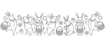 Vector Happy Easter border with outline easter rabbit, egg and basket isolated on white background. Cartoon elements with bunny. Stock Photography