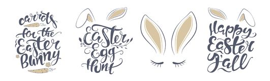 Vector Happy Easter bunny lettering card. quote to design greeting card, poster, banner, printable wall art, t-shirt and. Bunny kisses Easter wishes. Happy royalty free illustration