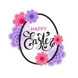 Vector Happy Easter calligraphic lettering with egg frame. And colorful 3d paper flowers isolated on white background. Retro holiday easter frame. Religious Royalty Free Stock Photography