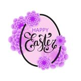 Vector Happy Easter calligraphic lettering with egg frame. And colorful 3d paper flowers isolated on white background. Retro holiday easter frame. Religious Stock Images