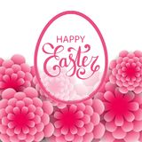 Vector Happy Easter calligraphic lettering with egg frame. And colorful 3d paper flowers festive background. Retro holiday easter frame. Religious holiday sign Royalty Free Stock Images