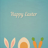 Vector Happy Easter card background. With minimal flat rabbit ears, boiled egg and fresh carrot - symbols of Easter,  realistic paper effect color cardboard Stock Images