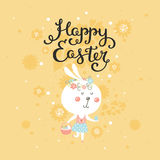 Vector Happy easter card with bunny Stock Image