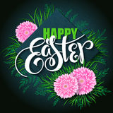 Vector happy easter card with lettering, rhombus, chrysanthemum flowers , spring grass and doodle branches Stock Images