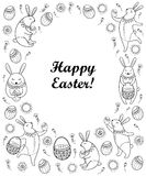Vector Happy Easter card with outline Easter rabbit, egg and basket isolated on white background. Cartoon elements with cute bunny Stock Photography