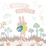 Vector Happy Easter card template with eggs, flowers, rabbit and typographic design. Good for spring and Easter Stock Photography