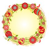 Vector Happy Easter cards floral wreath Stock Photo