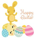 Vector happy easter colored eggs with flowers stock photography