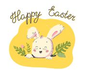 Vector Happy Easter congratulation with hand drawn cute little rabbit character head in hole and floral decorative elements isolat. Ed on white background. Good royalty free illustration