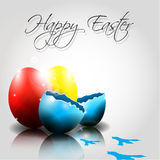Vector Happy Easter Eggs with traces of chicken. And broken egg Royalty Free Stock Photography