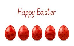 Vector Happy Easter Greeting Card With Realistic Eggs