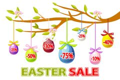 Vector Happy Easter, hanging eggs sale on a tree branch. Easter sale offer, banner template. On Separate Layers. Easter sale offer, banner template. Vector Happy royalty free illustration