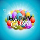 Vector Happy Easter Holiday Illustration with Painted Egg on Shiny Blue Nature Background. International Celebration Stock Image