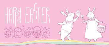 Art easter greeting card with traditional easter d stock image vector happy easter horizontal greeting card with outline easter rabbit couple and traditional easter symbol isolated m4hsunfo Images