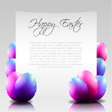 Vector Happy Easter Letter with Purple Eggs Stock Image