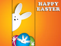 Happy Easter Rabbit Bunny on Orange Background Royalty Free Stock Image