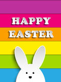Happy Easter Rabbit Bunny on Rainbow Background Royalty Free Stock Photography
