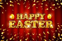 Vector Happy Easter on red curtain background celebration gold balloons and golden confetti glitters. 3d Illustration design for y. Our greeting card, invitation Stock Photo