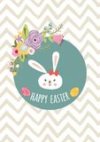 Hand drawn Happy Easter template with eggs floral wreath rabbit Bunny typographic design Kids style banner. Vector Happy Easter templates with eggs flowral vector illustration
