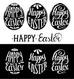 Vector Happy Easter type cards in the egg shape. Religious holiday vector illustrations for posters, flyers. Royalty Free Stock Images