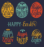 Vector Happy Easter type cards in the egg shape. Religious holiday vector illustrations for posters, flyers. Stock Photos