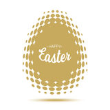 Vector Happy Easter typographic calligraphic lettering with gold halftone egg frame on white background. Stock Photo