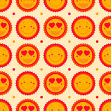 Vector happy emoticons seamless pattern background with suns. Su Stock Photos