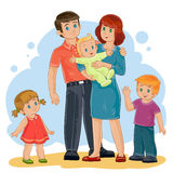Vector happy family - dad, mom, daughter, son and baby Stock Photography