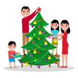 Vector happy family decorates Christmas tree royalty free illustration