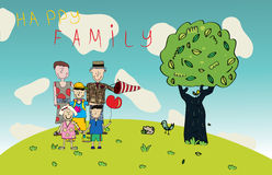 Vector Happy Family Drawing Royalty Free Stock Photography