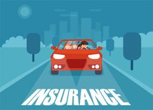 Illustration of car in with insurance royalty free illustration