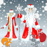 Vector Happy Father Frost and Snow Maiden royalty free stock photo