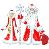 vector Happy Father Frost and Snow Maiden Stock Images